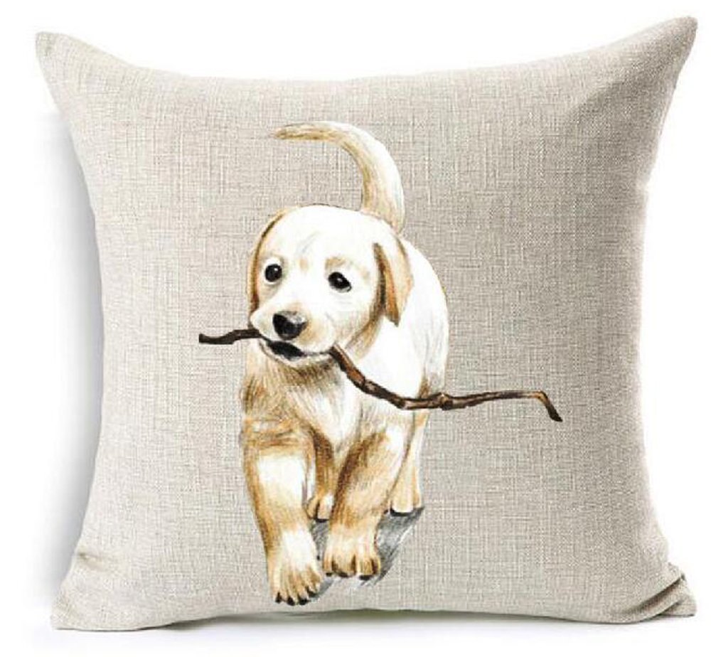 Cotton Linen Cute Funny Various Pet Dogs Human Friends Labrador Golden Retriever Throw Pillow Covers Cushion Cover Decorative Sofa Bedroom Living Room Square 18 Inches