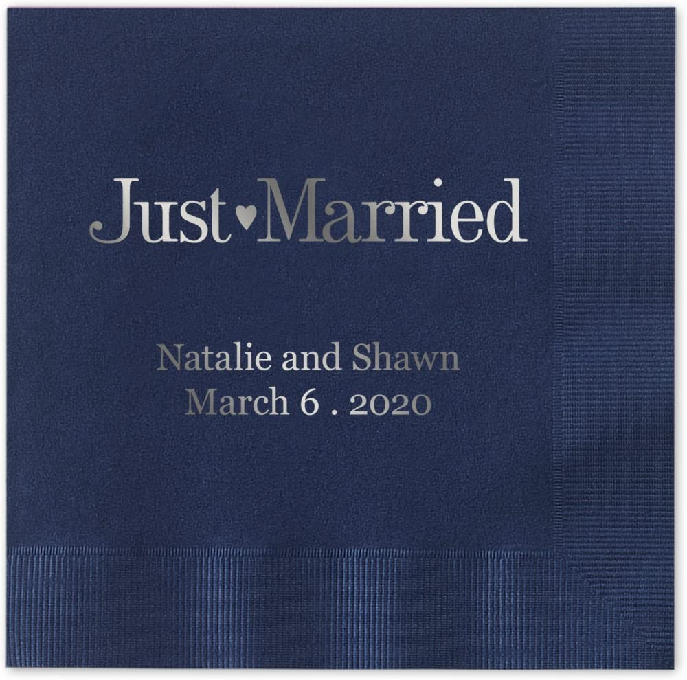 "Just Married Personalized Cocktail Napkins / 100 Navy Blue Paper 4 ¾"" x 4 ¾"" Beverage Napkins With Choice Of Foil"
