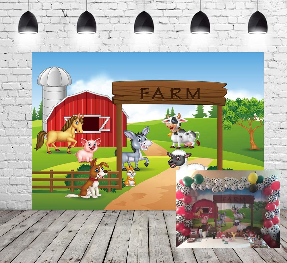 Farm Theme Photography Backdrop Red Barn Animals Barnyard House Kids Birthday Background Photo Studio New Photocall Baby Shower Newborn Photography ...