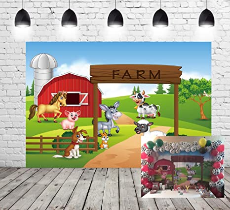 Farm Theme Photography Backdrop Red Barn Animals Barnyard House Kids Birthday Background Photo Studio New Photocall Baby Shower Newborn Photography ...