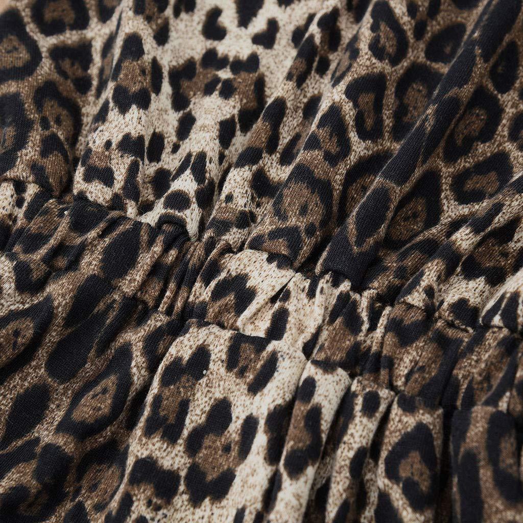ZYUEER Kinderkleidung Set Neugeborenes Baby Flattern /ÄRmel Leopard Print Strampler Overall Outfits Set