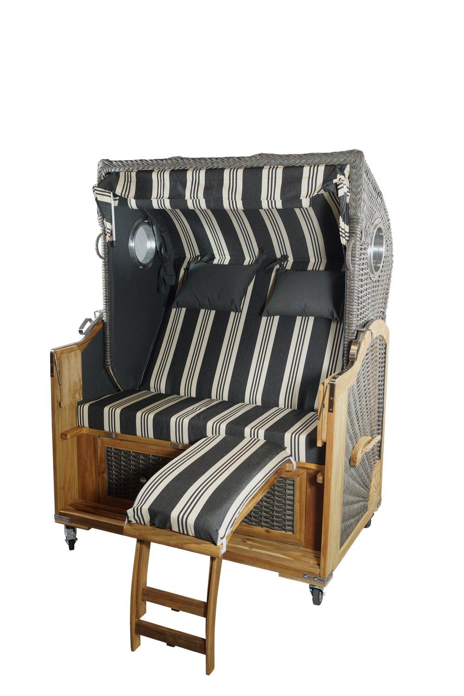 Strandkorb Mocca Spezial 2,5-Sitzer, grau / weiss gestreift