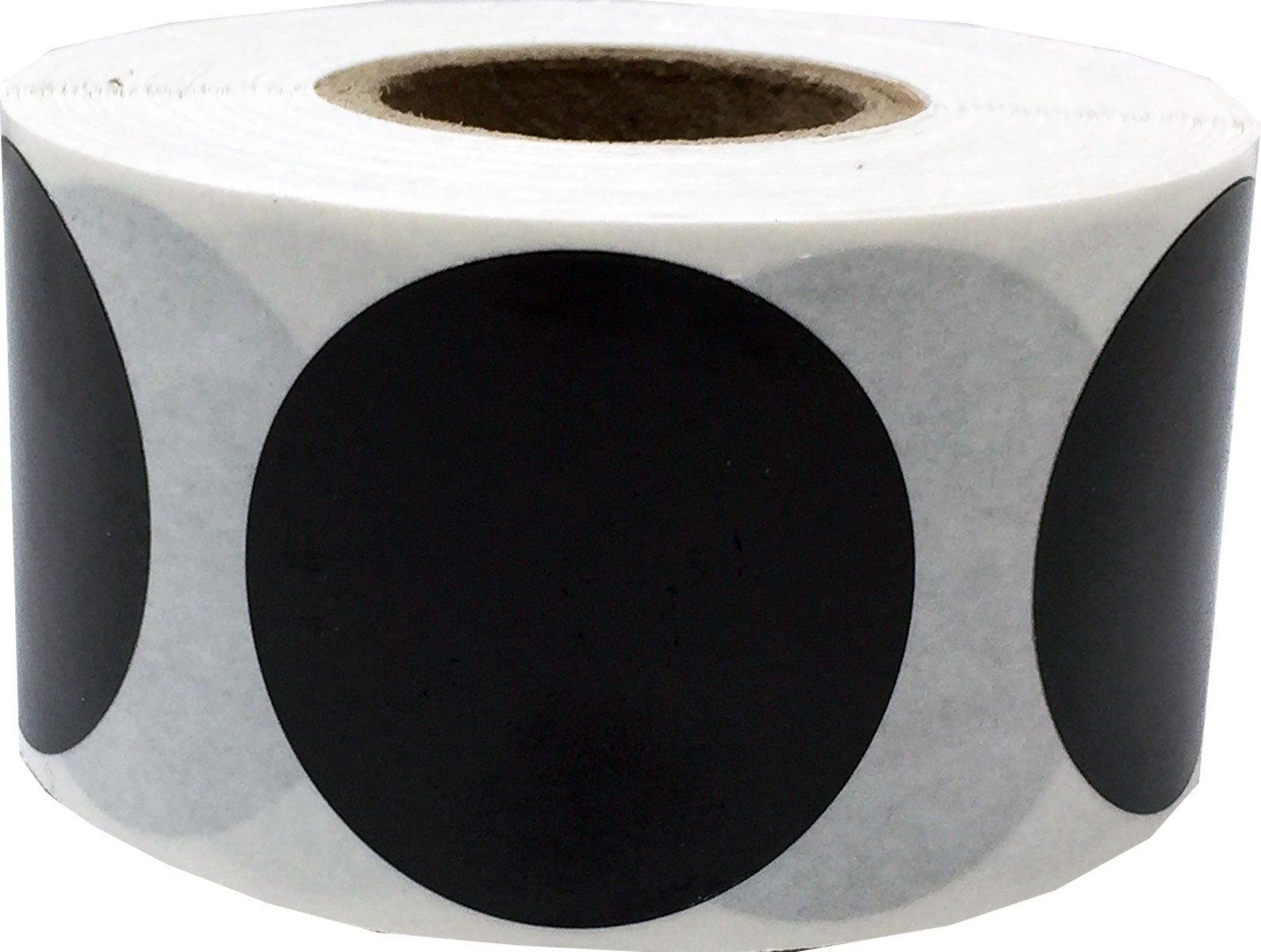 Black Circle Dot Stickers, 1.25 Inches Round, 500 Labels on a Roll