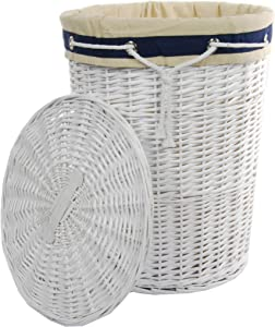 DVier SWWK-39WRd-b Laundry Basket, Willow, Round, White, Lid, Cover, Diameter 39 cm, Height 55 cm