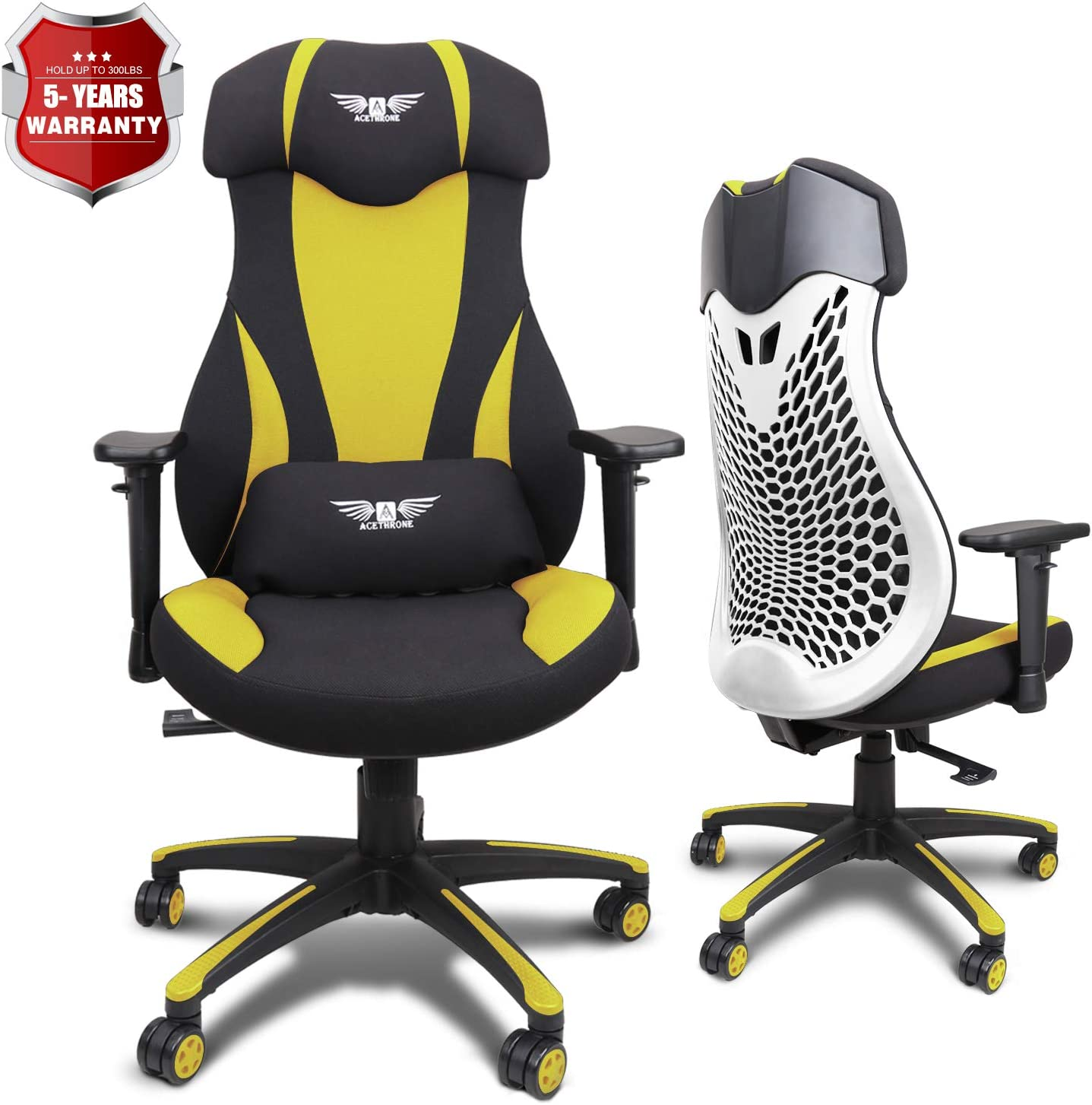 Acethrone PC Gaming Chair Ergonomic Office Chair Desk Chair with Lift Headrest and Armrests, Flexible Adjustable Height and Reclining Device (Yellow)