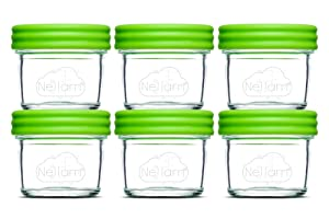 Nellam Baby Food Storage Containers - Leakproof, Airtight, Glass Jars for Freezing & Homemade Babyfood Prep - Reusable, BPA Free, 6 x 4oz Set, that is Microwave & Freezer Safe