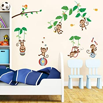 Vinyl Wall Art Decal Sticker Girls Pattern Tree and Jungle Animals Decals