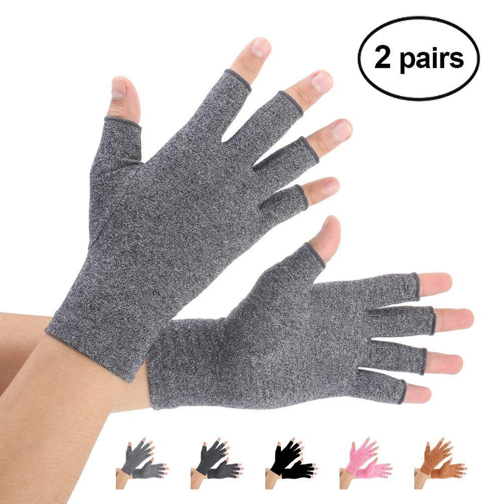 Arthritis Gloves 2 Pairs, Compression Gloves Support and Warmth for Hands, Finger Joint, Relieve Pain from Rheumatoid, Osteoarthritis, RSI, Carpal Tunnel, Tendonitis, Women and Men (Gray, Large)