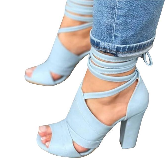 Damen Blockabsatz Schuhe Ankle Riemchen Sandalen Pumps Schnüren Sich High Heels JQfLpBa