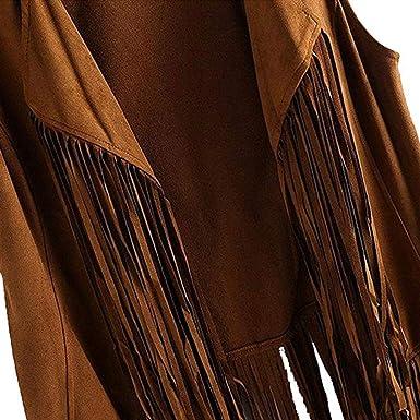 Shujin Damen Faux Wildleder Ethnische /ärmellose Quasten mit Fransen Weste Outdoor Cardigan Strickjacke Bluse /Übergang Jacke