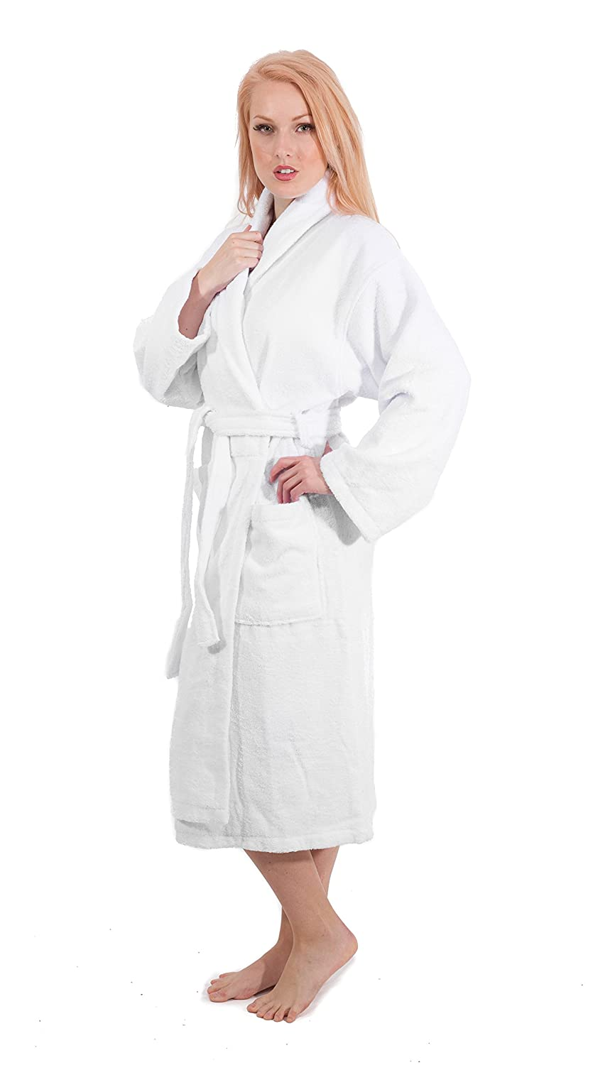 76605934f2 Luxury Terry Cotton Cloth Plush Bathrobe - Premium Cotton Hotel and Spa  Robes for Men and Women - Made with ...