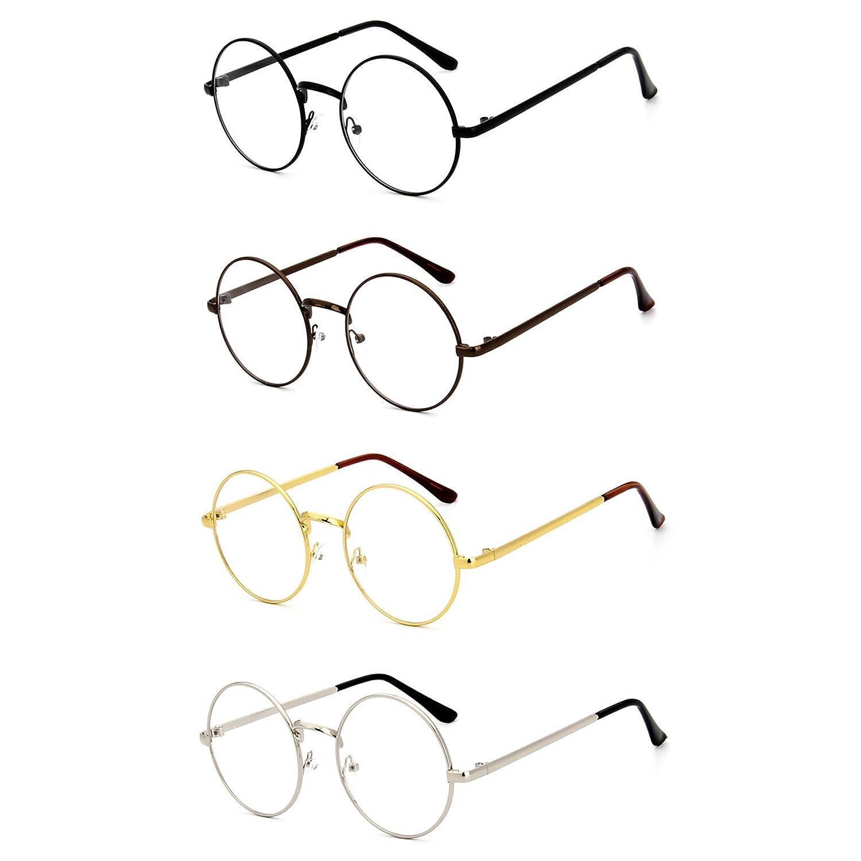 MAXFASHION 4 Stück Set Retro Runde Brille Mit Fensterglas Damen Herren  Brillenfassung vier Farben von 83951d517f