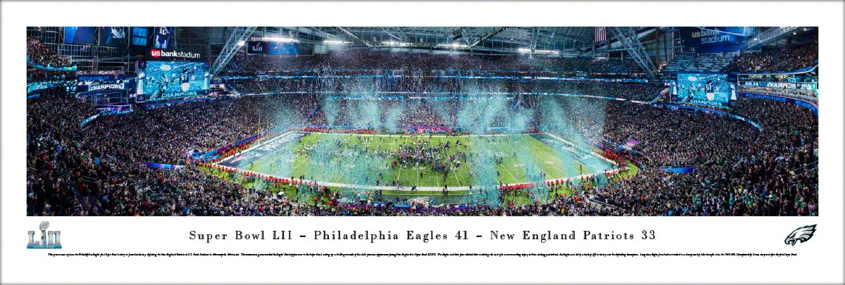 Super Bowl 2018 Champions, Philadelphia Eagles - Unframed 40 x 13.5 Poster by Blakeway Panoramas by Blakeway Worldwide Panoramas, Inc.