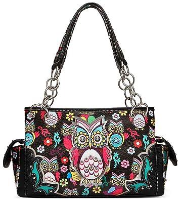 92da387f929 Colorful Owl Flower Rhinestone Concealed Purse Country Western Spring Style  Handbag Women Shoulder Bags (Black