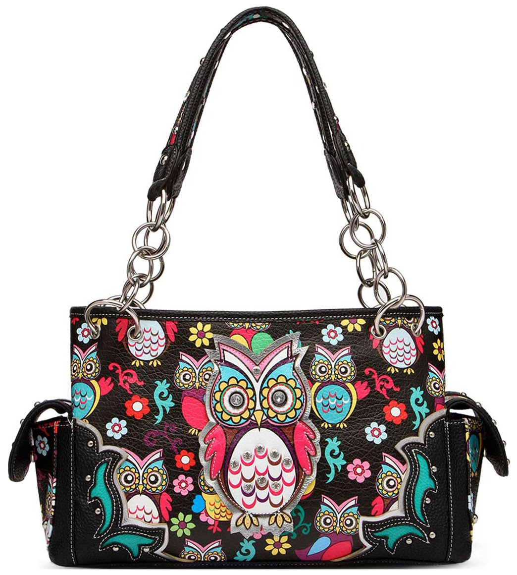 Colorful Owl Flower Rhinestone Concealed Purse Country Western Spring Style Handbag Women Shoulder Bags (Black)