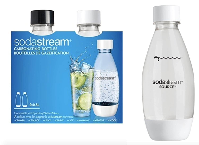 Bipack Sodastream - Bottiglie in PET da 1/2 LT. (2 x 0, 5 LT.) - Compatibile con tutti i gasatori Sodastream eccetto la linea vetro Sodastream*