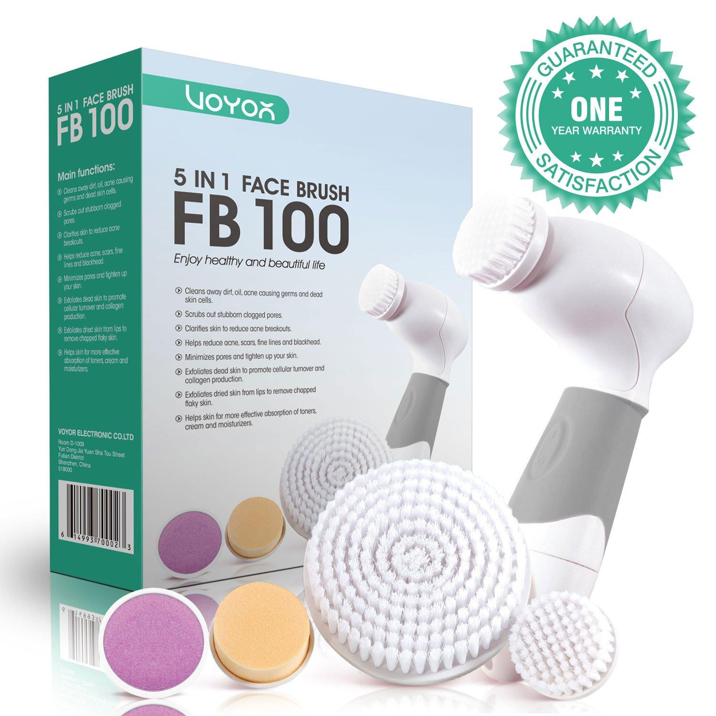 VOYOR In Limpiador Facial Electrico Cepillo Facial Limpieza Giratorio con Cabezales Diferentes