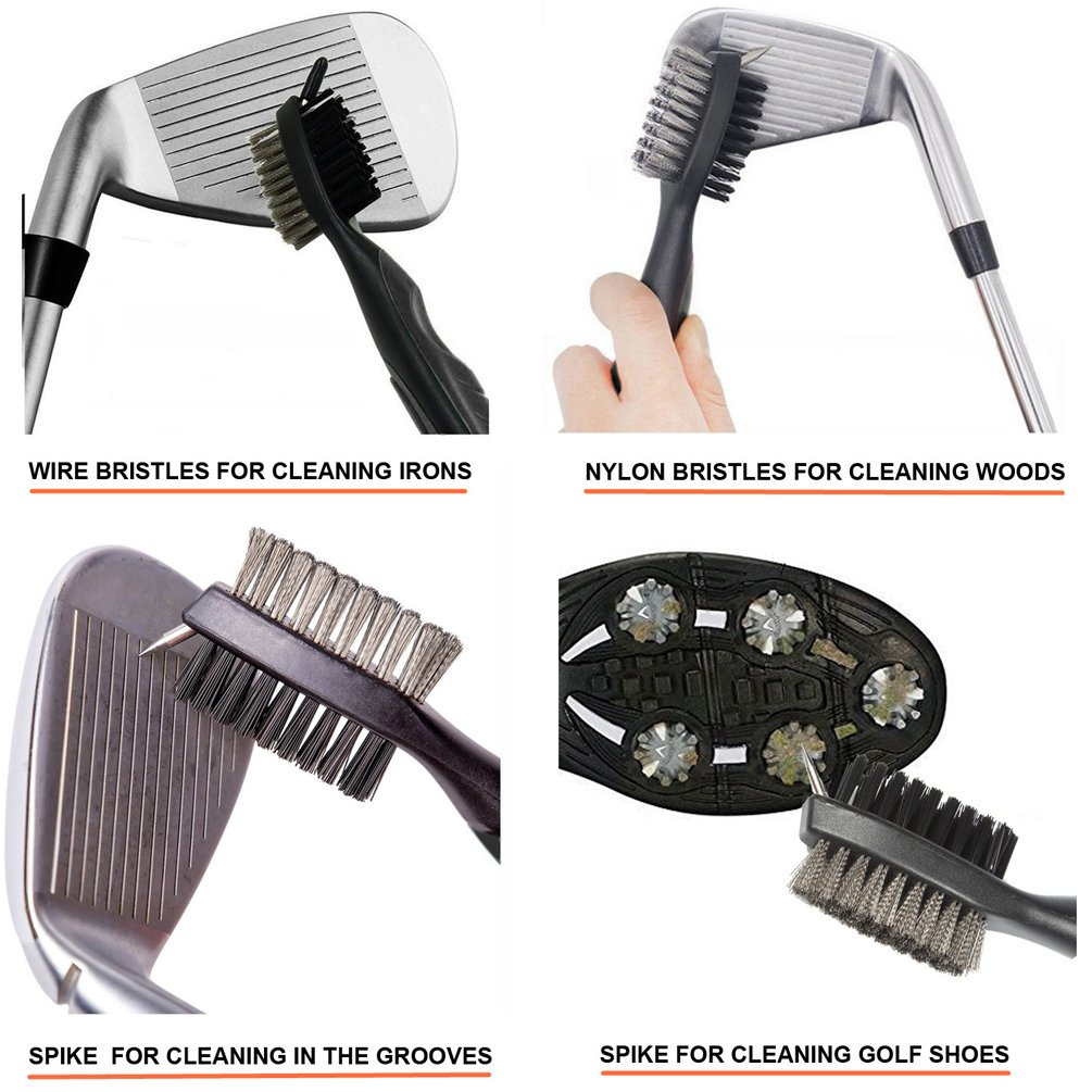 Golf Club Brush and Groove Cleaner Brush Brushes in 6 for Golf Shoes/Golf Club/Golf/Golf Groove, Attach 2 feet Retractable Zip-line Aluminum Carabiner