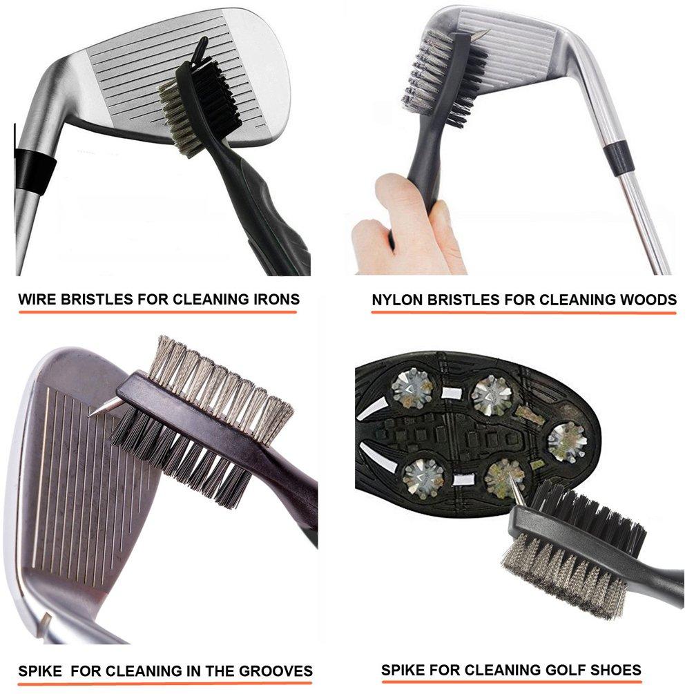 Golf Club Brush and Groove Cleaner Brush Brushes in 6 for Golf Shoes/Golf Club/Golf/Golf Groove, Attach 2 feet Retractable Zip-line Aluminum Carabiner