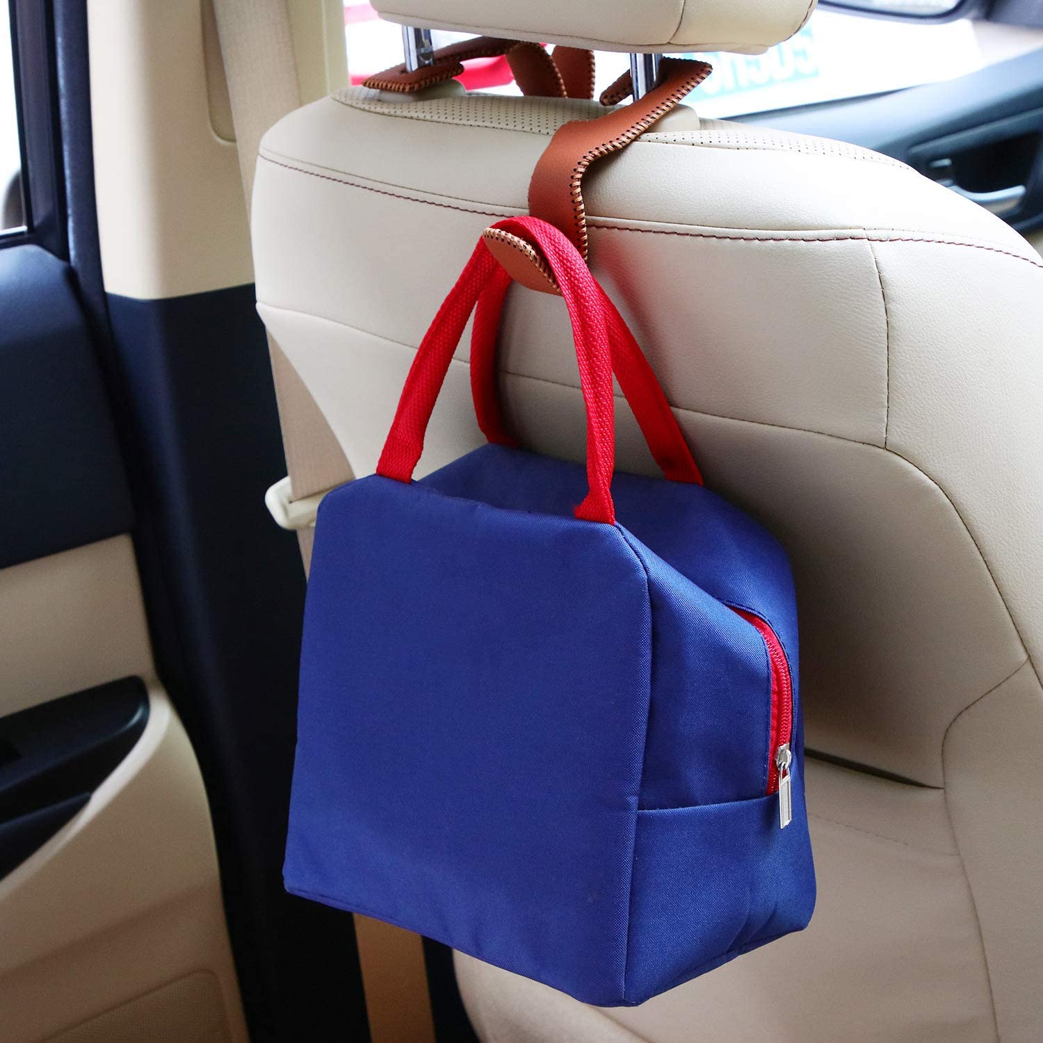 Beige 2 Pieces Car Headrest Hooks Universal Vehicle Back Seat Headrest Hanger Holder Hook Leather Car Seat Hooks for Hanging Purses and Grocery