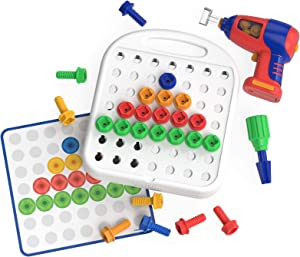 Educational Insights Design & Drill Patterns & Shapes Drill Toy, Easter Toy, 58 Piece Set, STEM Toy for Ages 3+