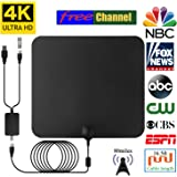 2018 NEWEST HDTV Air Antenna for Digital TV Indoor 80 Miles Long Range for Local Channels with USB Powered Digtal Amplifier Signal Booster, 16.5 FT High Performance Coaxial Cable, Free TV for Life