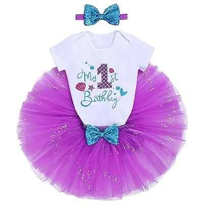 Baby Girl First 1st Birthday Mermaid Outfit Tutu Tiara Cake Smash Photo Shoot Ebay