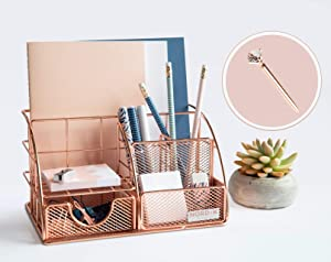 Rose Gold Desk Organizer and Storage for Your Accessories - Cute Office Decor for Women and Girls - Pink Set for Pencil Holder, Paper, File, School Supplies - Desk Organizers and Accessories