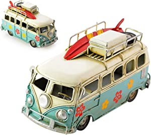 DS. DISTINCTIVE STYLE Toy Camper Van 6.3 Inches Worn Style Retro Metal Classic T1 Camper Van Beach Bus Toy Model - Ideal Birthday Surprise for Boyfriend