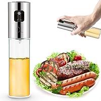 EXTSUD Oil Sprayer Bottle, Premium 304 Stainless Steel Glass Olive Oil Glass Bottle 100ml for Cooking, Salad, Bread Baking, BBQ, Kitchen (1 Pack)