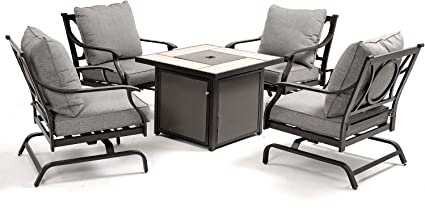 Grand Patio 5 Pcs Outdoor Furniture Conversation Fire Table Set Grey Cushions Rocking Chairs With 32 Inch Propane Gas Fire Pit Table Garden Outdoor