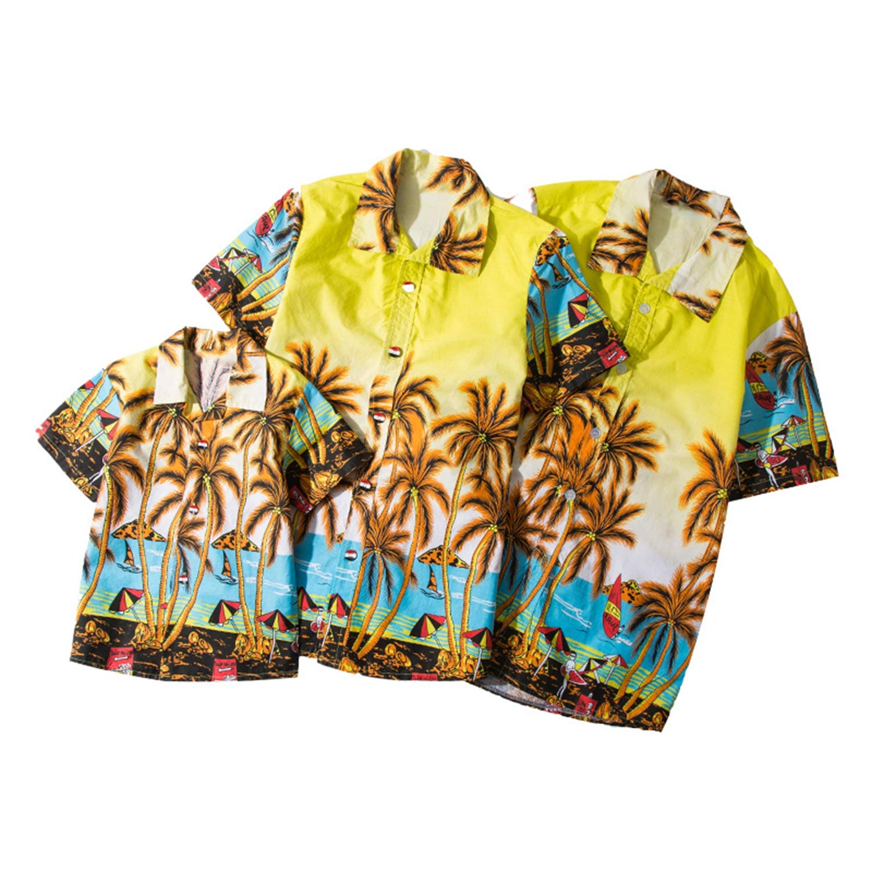 Allaoh New 2019 Mens Hawaiian Shirts Short Sleeve Tropical Palm Shirts Men Summer Fancy Beach Shirts Men Plus Size 5XL