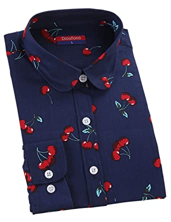 Dioufond belle chemise femme à manches longues en coton à motif de chemise  cerise ce330b0a8510