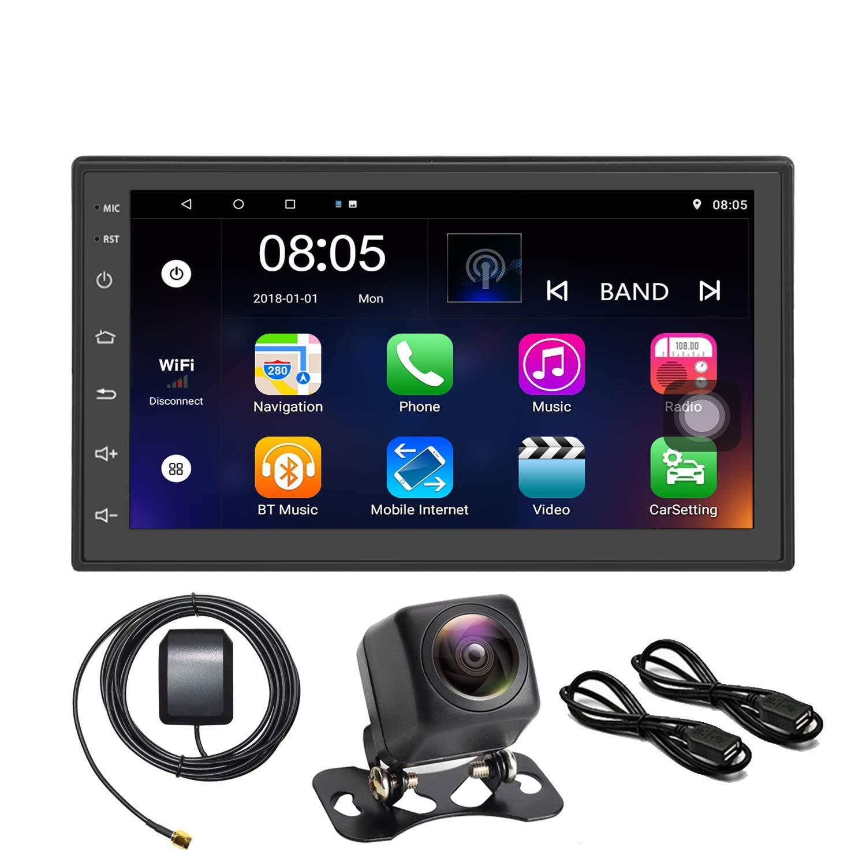 Panlelo C18 Android 7.1 Car 2 Din universal Car Stereo 7 inch Night Version Camera AM//FM//RDS Radio 1024/×600 Quad Core+16G Car Audio Player GPS Navigation Wifi BT 2USB Port SWC
