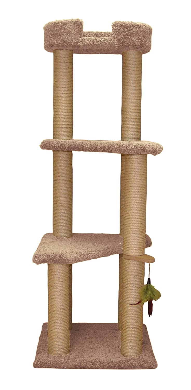 Natural Beige North American Pet Products 60.5-Inch 4 Story Cat Tree with Sky Lounger Natural Beige 21x23.5X 60.5