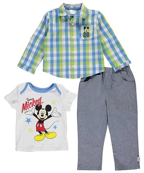 Amazon.com  Disney Baby Boys  Mickey Mouse 3-Piece Woven b3a7e7e6e