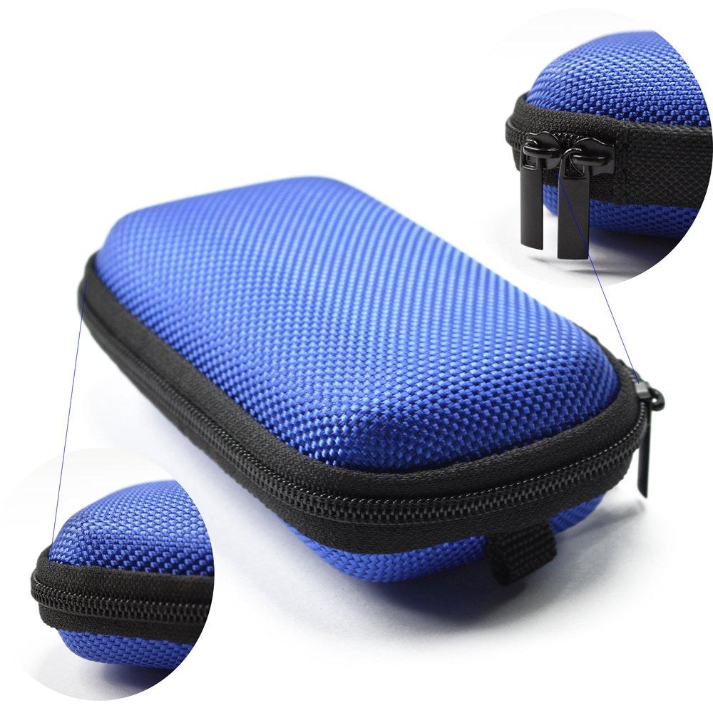 Case Star ® Black Color Rectangle Shaped Hard Earphone Headset EVA Case for MP3/MP4 Bluetooth Earphone Earbuds with Mesh Pocket, Zipper Enclosure, and Durable Exterior+ Case Star Velvet Bag (Rectangle Earphone Case - Blue)