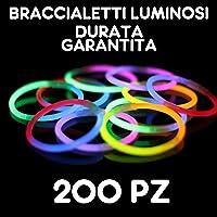 Partylandia Shop BRACCIALI Braccialetti Luminosi Fluorescenti Starlight Glowstick Disco Glow Stick 200 PZ, Multicolore, 200starlight