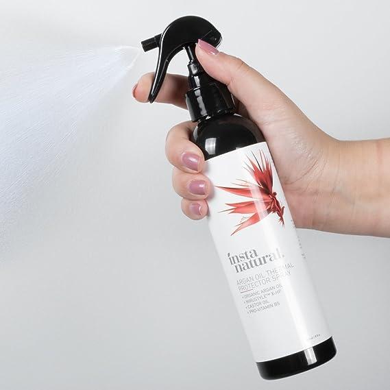 Spray para Cabello Protector Térmico InstaNatural - Contra Planchas – Con Aceite de Argan Orgánico, de Ricino, de Semilla de Girasol y Vit B5 - ...