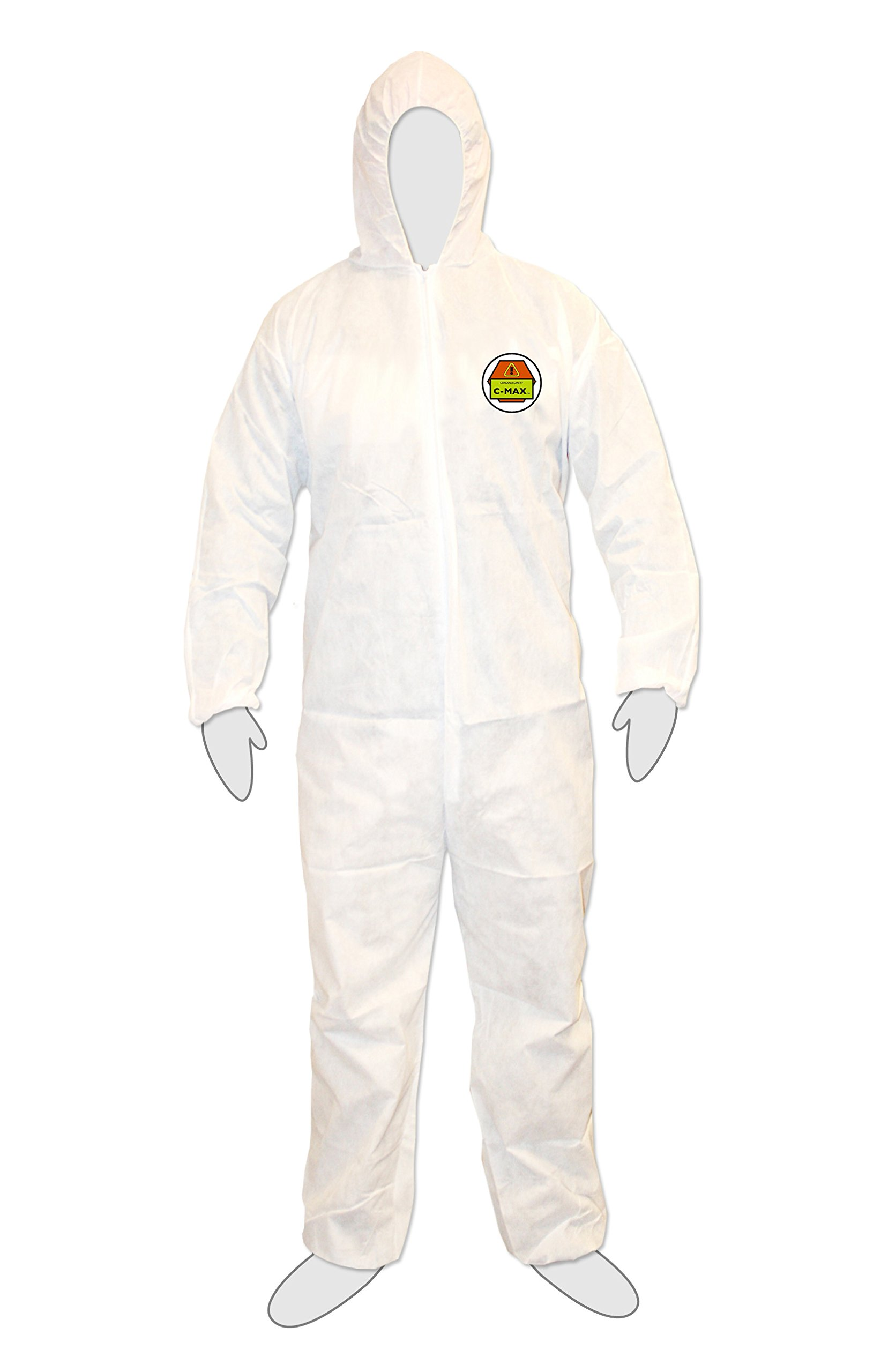 Cordova Safety Products SMS3003XL C-Max 3-Layer Breathable Coverall with Attached Hood and Elastic Wrists, Ankles and Waist, 3X-Large, White