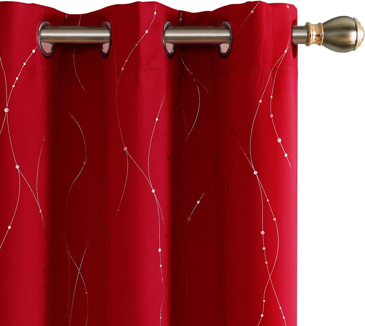 Deconovo Blackout Curtains Wave Line with Dots Foil Print Design Grommet Top Window Curtains for Bedroom 42 x 63 Inch Red 2 Panels