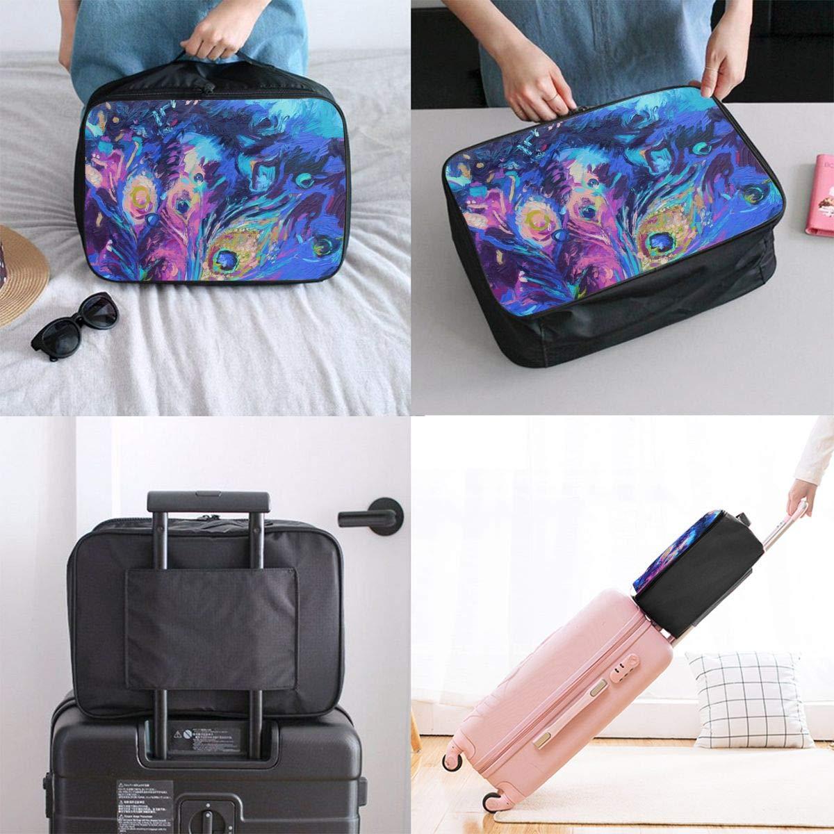 Travel Luggage Duffle Bag Lightweight Portable Handbag Fantasy Feathers Print Large Capacity Waterproof Foldable Storage Tote