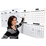 "Large Wall Calendar - 2019 Dry Erase Year Planning Calendar- 36"" x 96"" Large Wet Erase Laminated Academic Calendar Poster - Erasable Yearly Planner Calendars - 3' x 8' Jumbo Wall Calendar 2019"