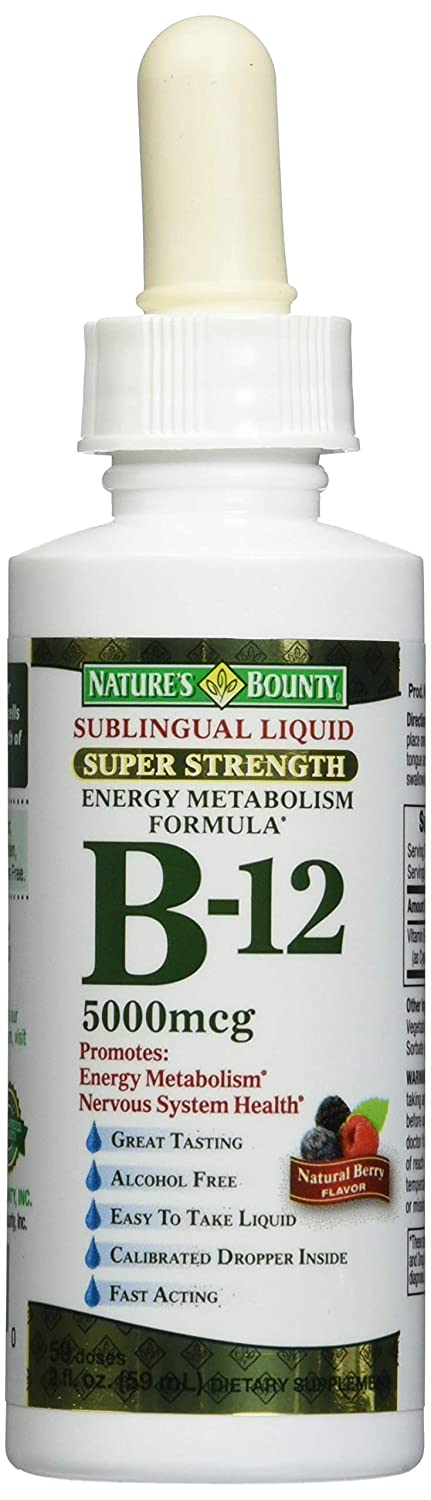 Nature s Bounty B-12 5000 mcg Sublingual Liquid Energy Health 2 oz Pack of 3