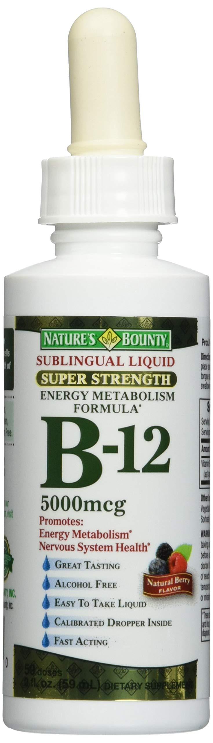 Nature's Bounty B-12 5000 mcg Sublingual Liquid Energy Health 2 oz (Pack of 3)