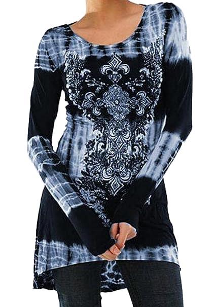 Mujer Camisas Manga Larga Top Moda Round Collar Impresión Blusa T-Shirt Vestidos tee: Amazon.es: Ropa y accesorios