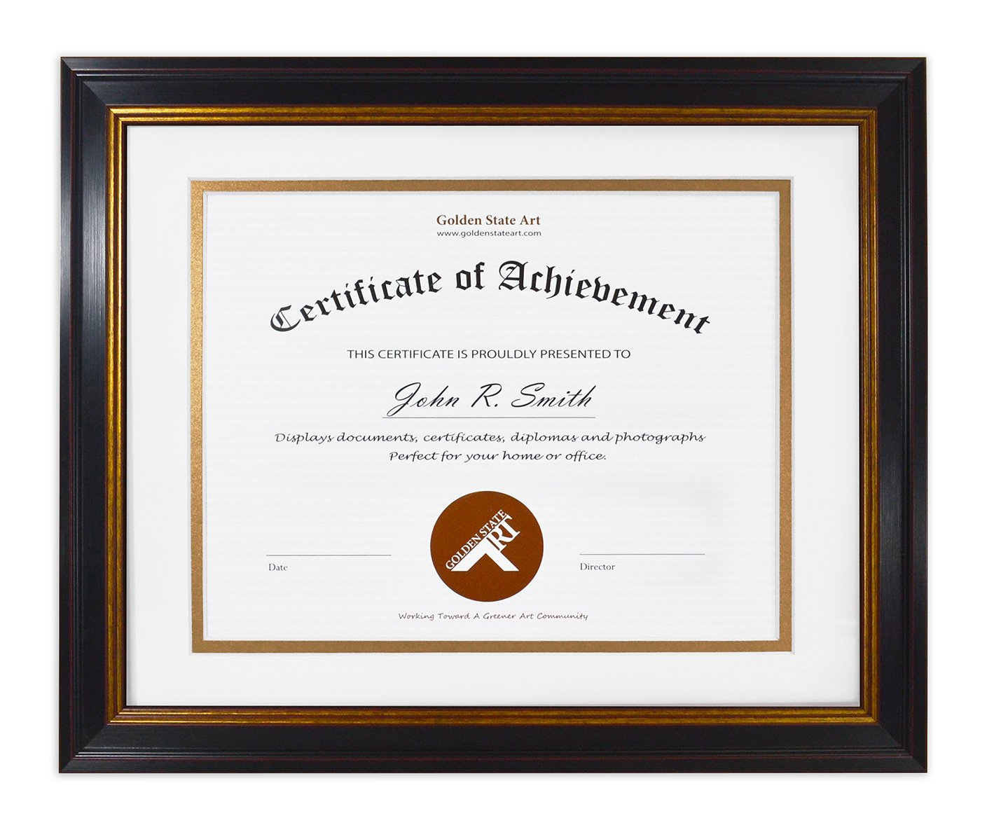 Golden State Art 11x14 Frame for 8.5x11 Diploma/Certificate, Black Gold & Burgundy color. Includes White Over Gold Double Mat and Real Glass