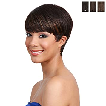 Amazon.com   BOBBI BOSS Human Hair Wig - MH1212 CUTIE (  1B - Off Black)    Hair Replacement Wigs   Beauty 264a9b28b