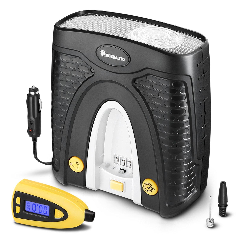 Naviskauto 12v Tire Inflator Portable Auto Air Pressure Gauge Kompressor Compressor With Detachable And Carry Case 100 Psi Automotive