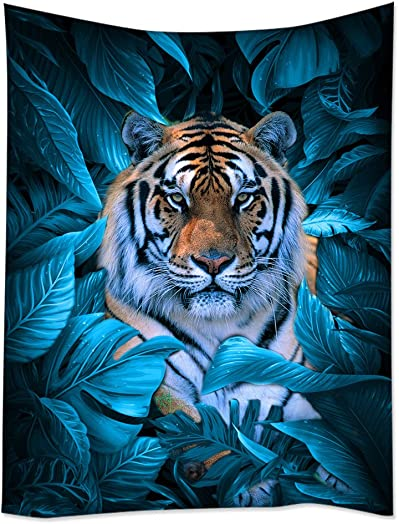 SXCHEN Tapestry Art Wall Hangings Tapestries Tiger African Wildlife Blue Leaves King of Animals 60 x90